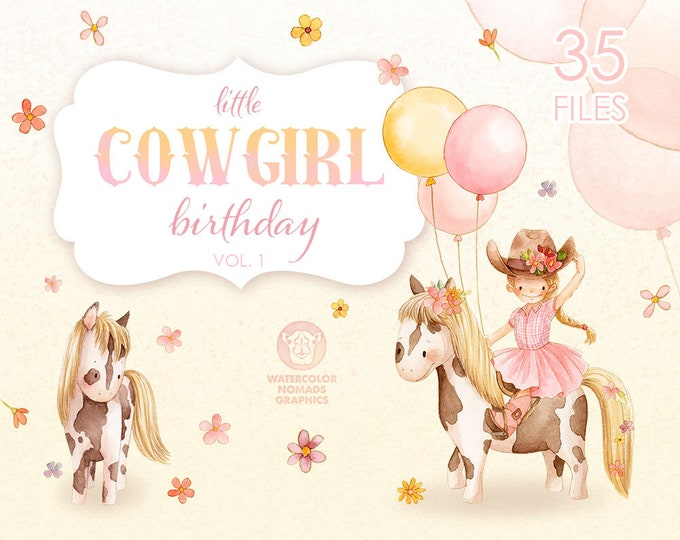 Clipart Set - Little CowGirl Birthday Party - Watercolor Illustration Graphics - Volume 1