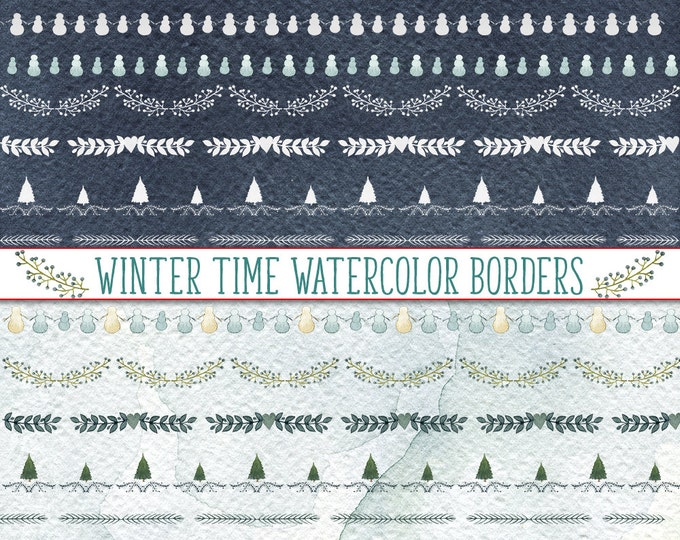 Winter Borders Clipart, Watercolor Clipart, watercolor borders, Christmas borders, Christmas Tree borders, Snowman Borders,
