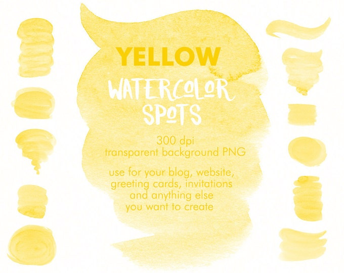 Yellow Spots clipart, watercolor clipart, brush strokes clipart, digital watercolor, hand painted, boho clipart, diy invitation, sunny