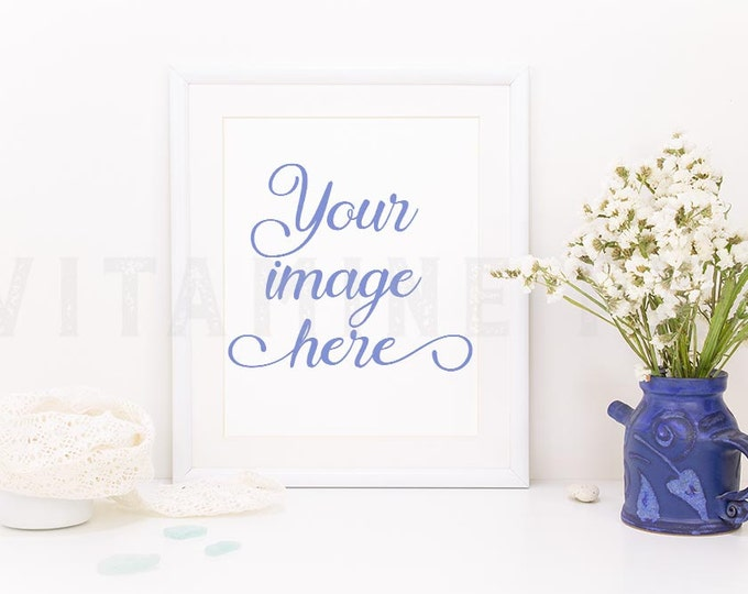 Print Frame Mockup, Print mockup, white frame, artwork mockup,  photography mockup, styled photo, stock photo, product mock-up, flowers