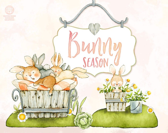 Watercolor Bunny Clipart, Easter Clipart, tiny village, shabby house, countryside clipart, baby animals, vegetables, clipart, cute nursery