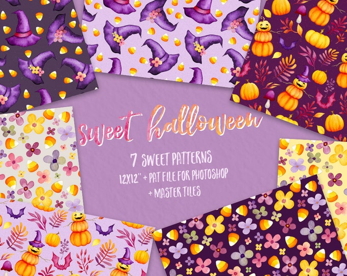 Halloween digital paper, Kids clipart, Fall clipart, Autumn clipart, watercolor, pumpkin, witch hat, candy corn, flowers, baby, commercial