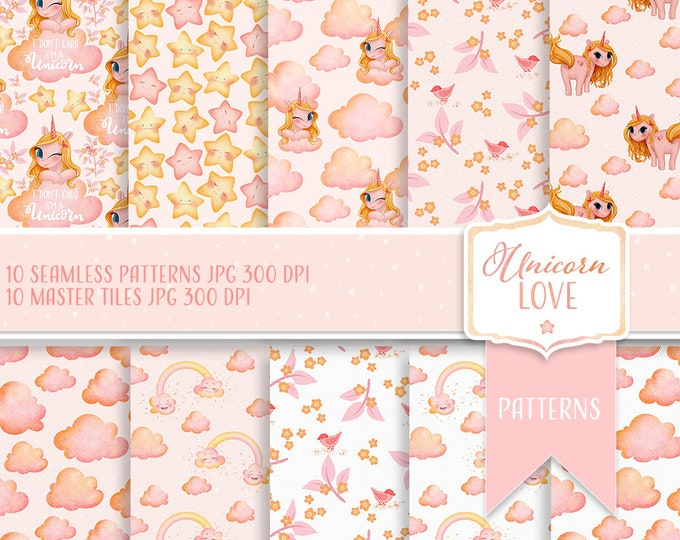 Unicorn Digital Papers, seamless patterns for scrapbooking and crafting, commercial use clipart, clouds and stars, kids illustration