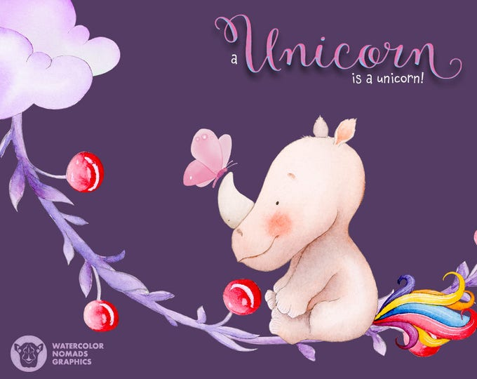 Unicorn clipart, watercolor cliparts, rainbow, clip art, unicorn illustration, funny, card making, scrapbook, digital, diy baby birthday
