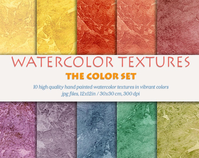 Digital watercolor, digital clipart, background textures, hand painted digital paper, watercolor textures set, color paper textures, bright