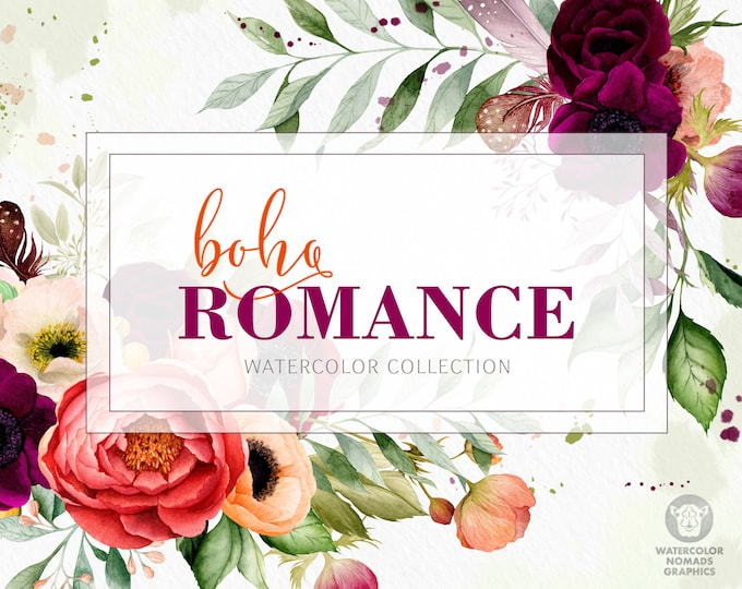 Boho Romance Vol 1,  floral bouquets, watercolor flowers clipart, wedding flowers, bridal illustration, peony, anemone, leaves