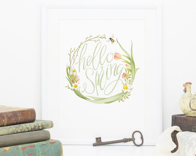 Wall art printable, hello Spring, PDF, Daffodils, floral, spring flower, Tulips, hand lettered, wall decor, DIY, instant, kitchen art