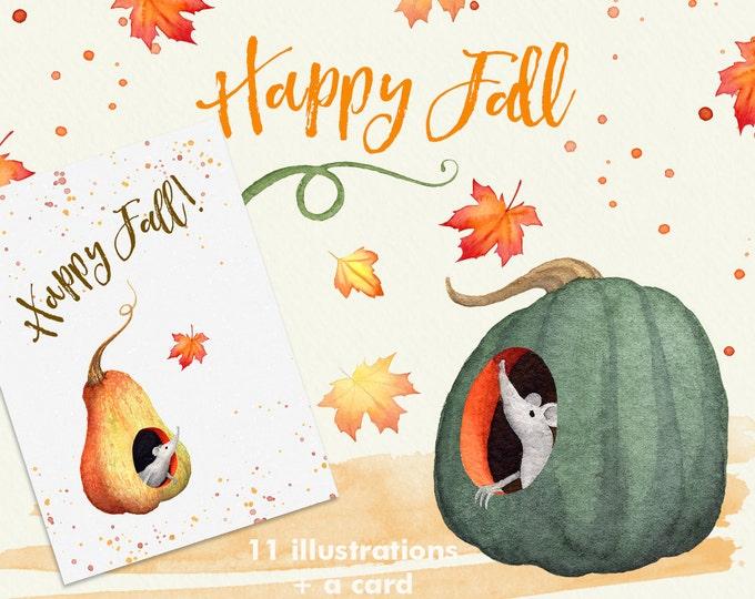 Fall pumpkins watercolor clipart
