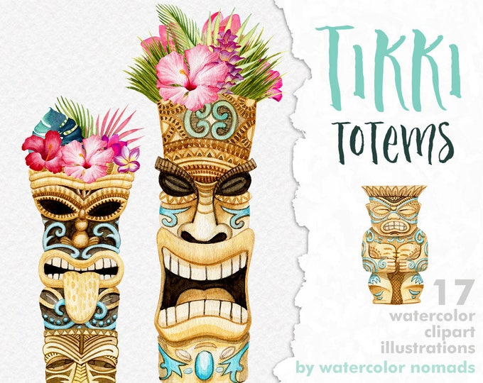 Tiki tribal style clipart, tribal clip art, Hawaii Tropical flowers, tiki totem, printable, scrapbooking, Maori totems, diy luau party