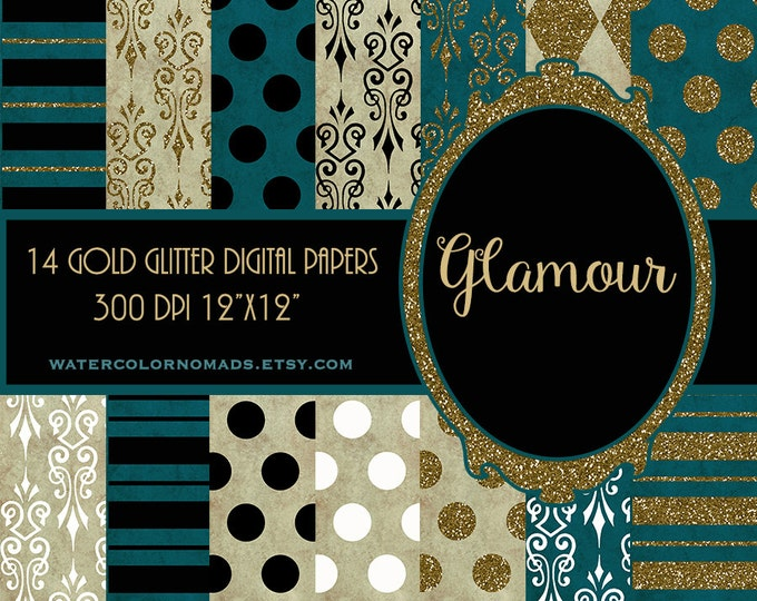 Digital Paper Gold & Teal, scrapbook paper, pattern background, gold damask, Glitter paper, gold pattern, gold dots