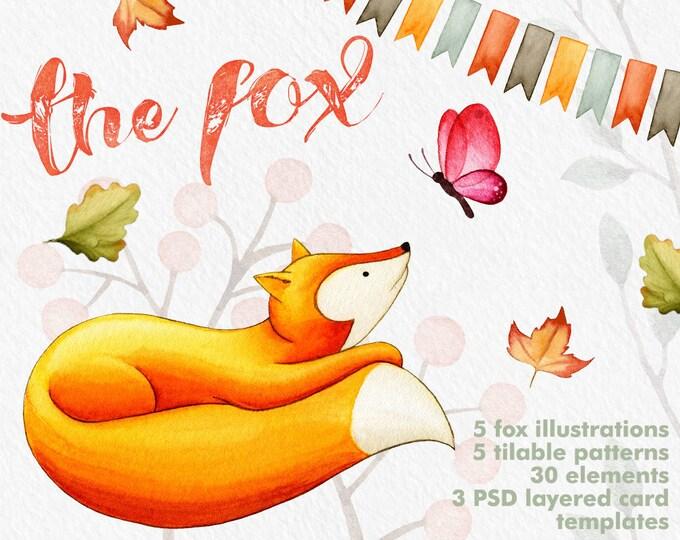 Fox clipart, Autumn clipart, Fall clipart, Pumpkin clipart, card templates, digital clipart, birth announcement, editable PSD, digital paper