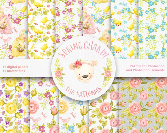 Digital Paper, Watercolor, Floral clipart, Spring clipart, seamless pattern, roses clipart, forgetmenot, nursery, clipart, baby art, instant