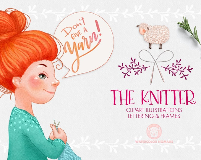 Knitter Clipart Set , knitting girl, cute sheep, yarn ball, yarn skein, hand lettered knitter quotes, decorative frames, speech bubbles