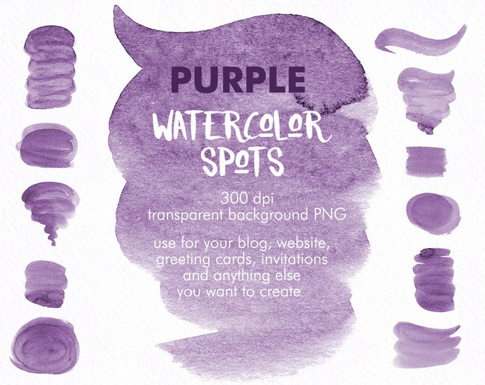 Purple Spots clipart, watercolor clipart, brush strokes clipart, digital watercolor, hand painted, boho clipart, diy invitation, blog