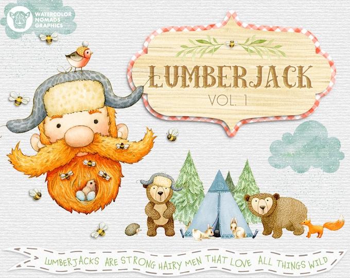 Lumberjack Clipart, Watercolor Woodland Animals