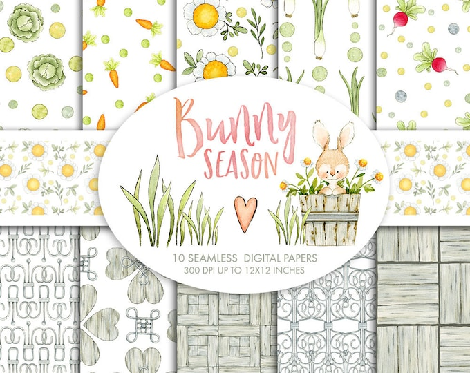 Watercolor Digital Papers, Easter, Bunny garden, seamless pattern, vegetables clipart, shabby chic digital paper, floral clipart, scrapbook