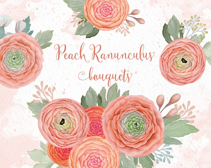 Peach Flowers clipart, wedding clipart, boho, flower posy, watercolor clipart, ranunculus bouquets, peach banner, watercolor flowers
