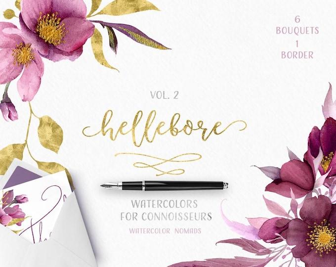 Hellebore Watercolour flowers clipart, Gold, floral clip art, Wedding flower graphics, boho, flower bouquet illustrations, scrapbooking