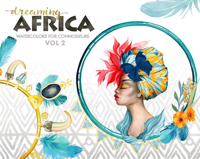 Watercolor Clipart, brown skin woman, Tropical Flowers, tribal feathers, butterflies, Summer floral, flower bouquet, female, Africa