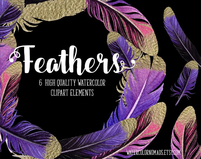 Feathers clipart, Autumn clipart, Halloween clipart, feather wreath, digital clipart, gold purple feather, gold clipart, watercolor clipart