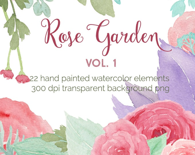 Pink roses clipart, watercolor flowers clip art, wedding invitation, rose flower, scrapbooking, instant download, diy, summer, romantic