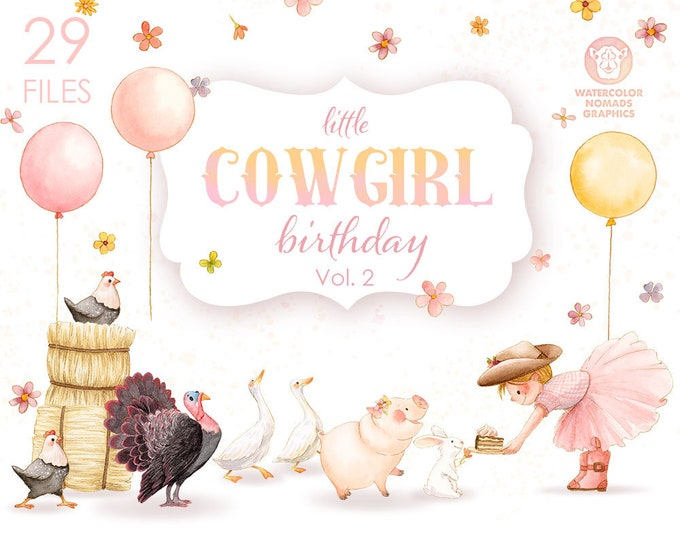 Clipart Set - Pink CowGirl Birthday Party - Watercolor Clipart Illustrations - Volume 2
