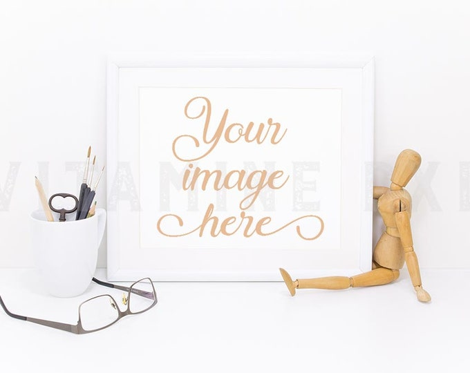 Print Mockup, Print frame mockup, white landscape frame, artwork frame, picture mockup, styled frame mockup, stock photo, product mock-up