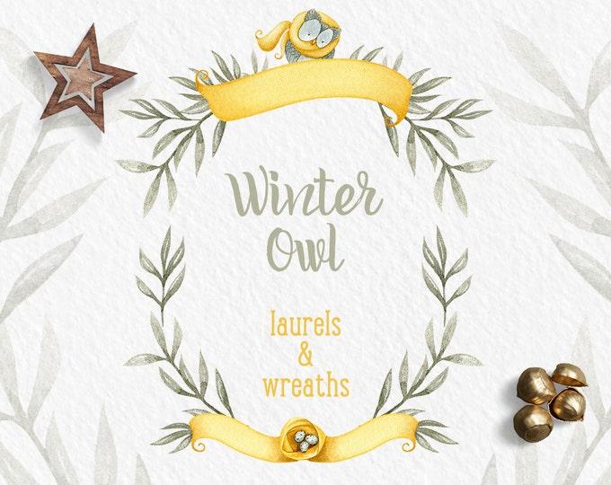 Winter wreath clipart, winter clipart, Owl clipart, digital clipart, holiday clipart, watercolor wreath, winter clip art, grey, mustard