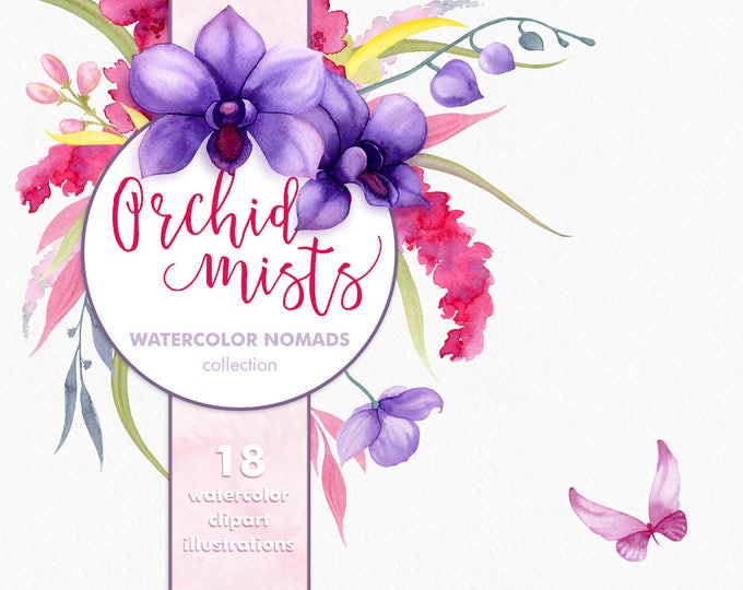 Watercolor Orchid Flowers clipart, purple flower clipart, scrapbooking graphics for instant download, great for sublimation printing
