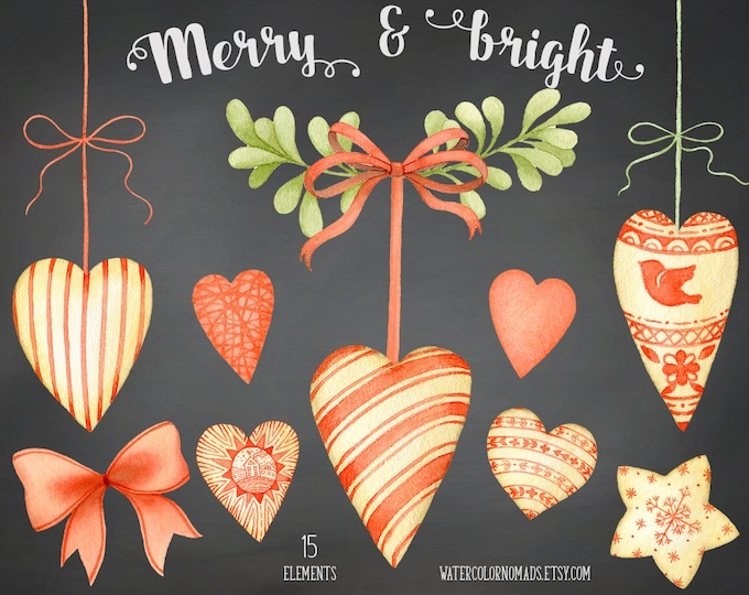 Christmas clipart, watercolor clipart,heart ornament clipart, star clipart, heart clipart, design set, hand painted, bow clipart, mistletoe
