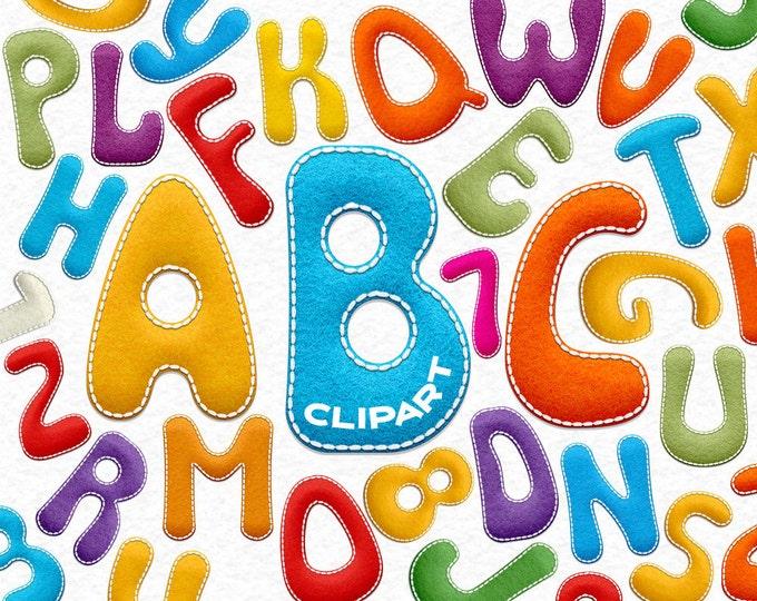 Back to school Felt Alphabet clipart, felt letters clipart, felt font, kids clip art, felt numbers clip art, A to Z, kids design, instant