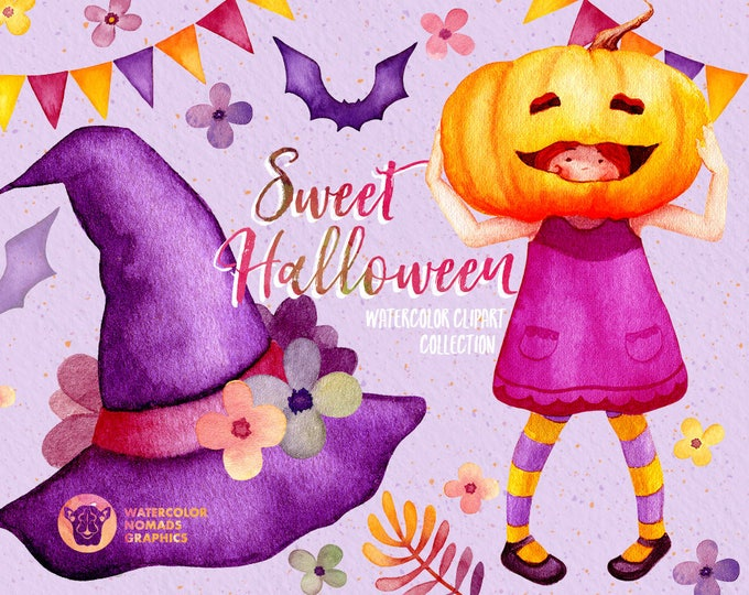 Watercolor Halloween clipart, Witch Hat clipart,watercolor, pumpkin clip art, Fall clipart, Bat clipart, Kids clipart, card templates