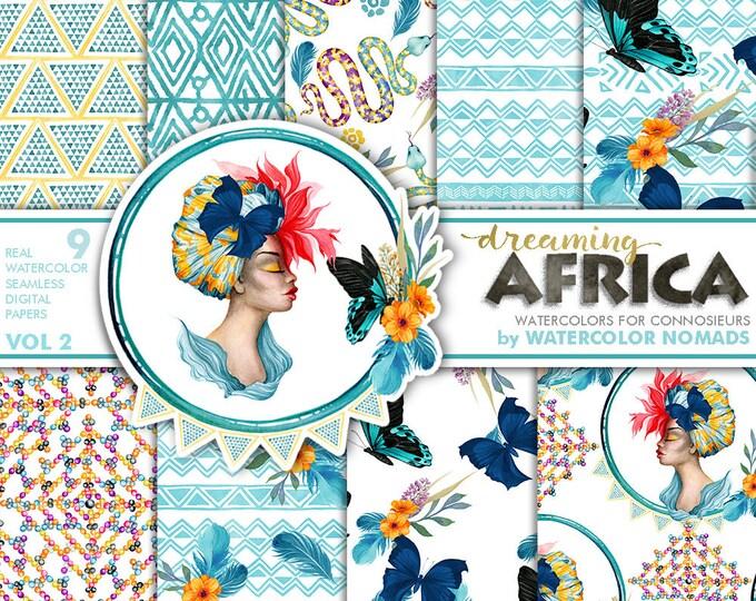 Digital Paper Set, Tropical Africa Watercolor Cliparts, Woman Tropical Flowers, Snake, Butterflies, Summer floral, scrapbooking