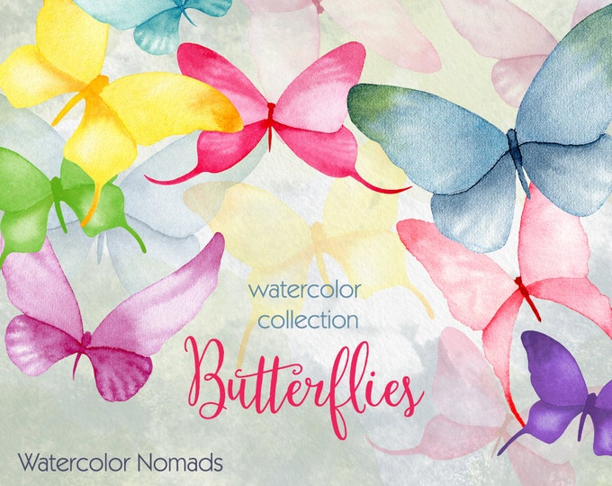 Butterfly clipart, watercolor clipart, bright color clipart, hand painted, clip art, summer clipart, insect clipart, birthday clipart