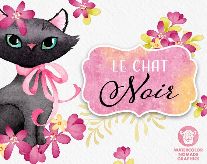 Black Cat Clipart with hot pink flowers and digital papers
