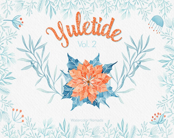 Christmas clipart, Yuletide Clip art, Nordic,  watercolor clipart, Dala horse, Poinsettia, winter, printable, scrapbooking, illustration