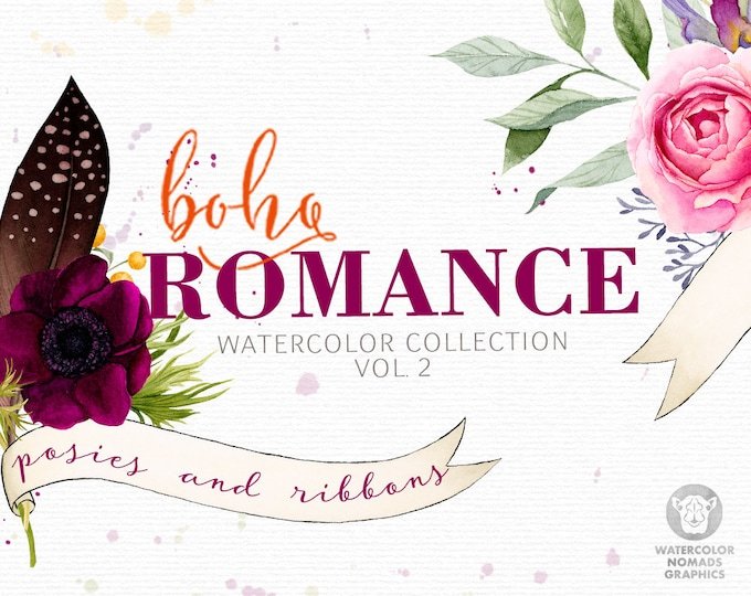 Boho Romance Vol 2, watercolor flowers clipart, spring clipart, wedding, bouquets, wreath, greenery, peony, feather