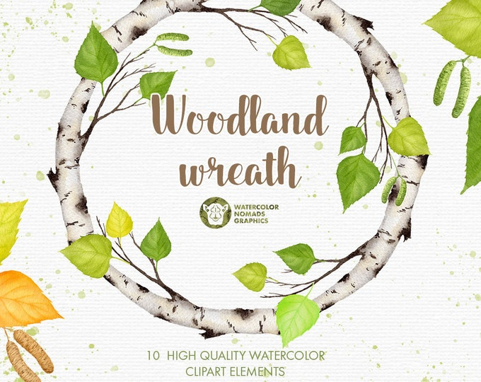 Watercolor Woodland Clipart Illustrations Set, Birch greenery and wreath, digital graphics
