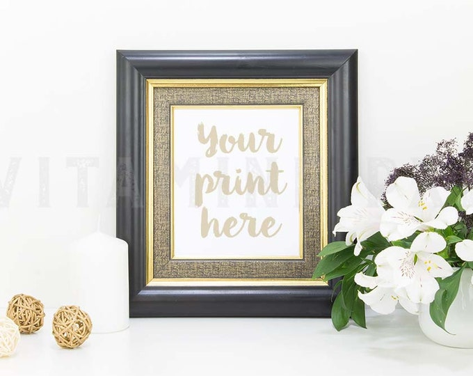 Black Frame Mockup, Print mockup, white flowers mockup, picture mockup, styled background, stock photo, mock-up, candle, vertical frame