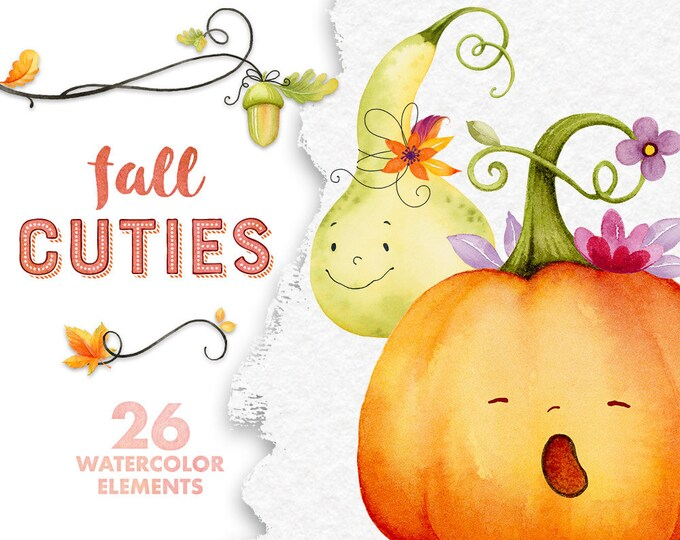 Fall clipart, cute pumpkins, Autumn clipart, fall leaves , pumpkin clip art, scrapbooking, digital watercolor, kids printables, commercial
