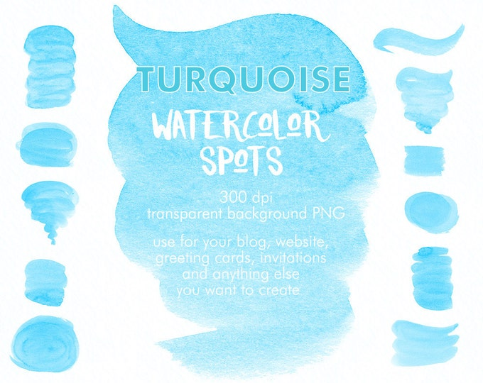 Turquoise Spots clipart, watercolor clipart, brush strokes clipart, digital watercolor, hand painted, boho clipart, diy invitation, blue