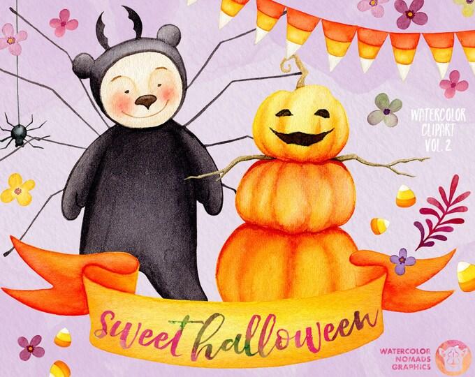 Watercolor Halloween Clipart, corn candy clipart, Kids clipart, Fall clipart, spider clipart, fall flowers leaves, watercolor pumpkin man