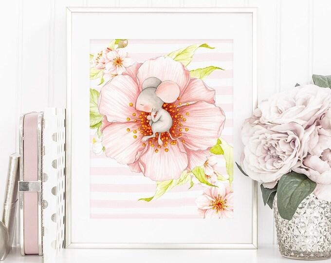 Nursery printable, wall art, PDF, Baby Sweet Dreams, floral, spring flower, mouse, sleeping baby, kids decor, wall decor, DIY, wild peony