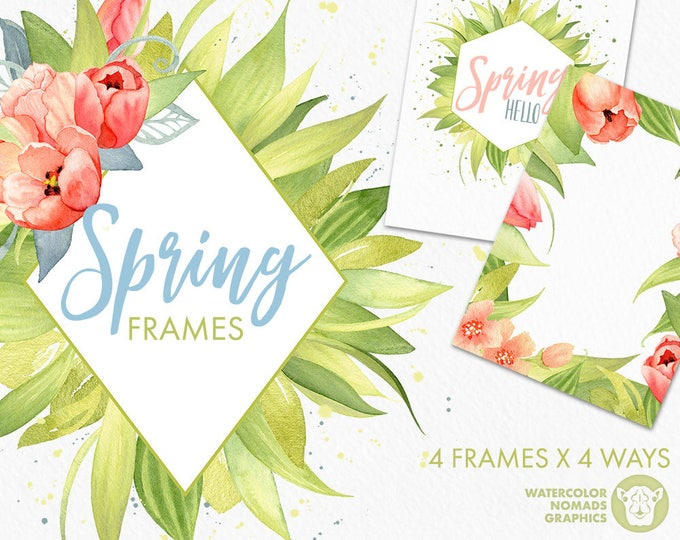 Watercolor Spring Flowers Frames Clipart, geometry frames, watercolor splatter, split frame, tulips