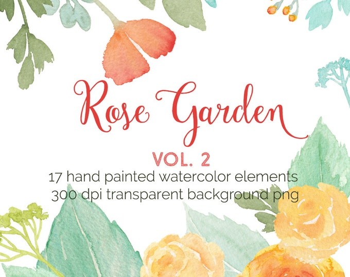 Watercolor Roses clipart , yellow roses, invitation, clip art, flowers, digital, wedding, scrapbooking, instant download, boho clipart, diy