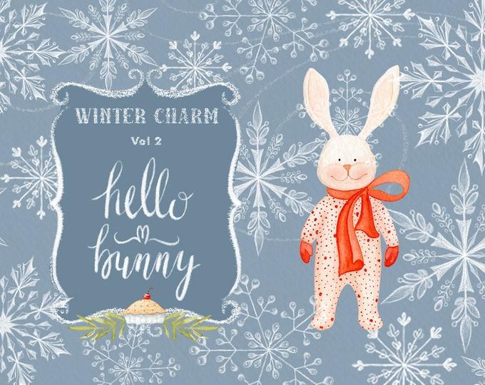 Watercolor Christmas Clipart, Winter Clipart, Bunny, snowflakes, winter wreaths, snowy houses, snowman, poinsettia