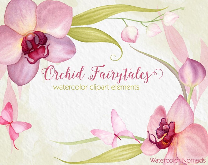 Orchid Flower clipart, watercolor clipart, hand painted, wedding invitation clip art, floral clipart, pink orchids, butterflies clipart