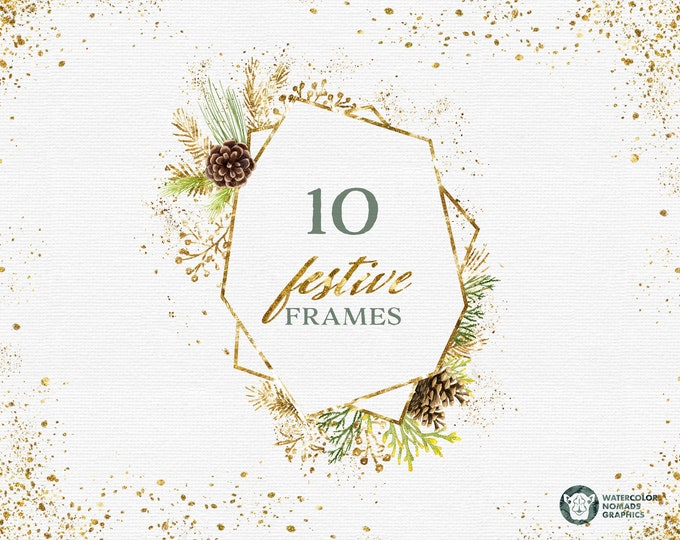 Gold Festive Frames Clipart Graphics for personal and small commercial use, gold spatter vignettes, scrapbook resources, diy christmas cards
