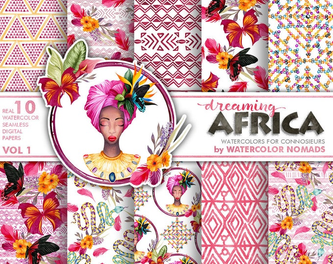 Digital Paper, Tropical Africa Watercolor Cliparts, Woman with Tropical Flowers, Snake, Stelitzia, Butterflies, Summer floral, scrapbooking