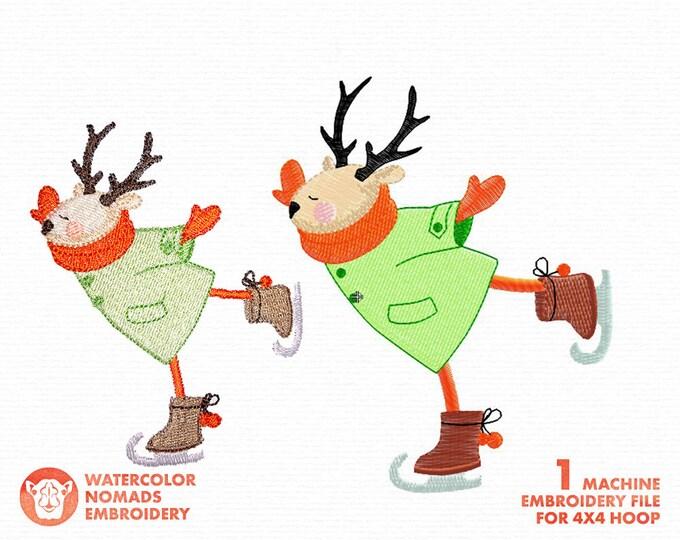Christmas Skating Deer Machine Embroidery Design Set, Winter embroidery, kids design